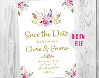 Save the Date, Gold Floral Boho Wedding Invitation, RSVP Card, Thank You Card Sign, Feather Floral Boho Wedding Invite Set