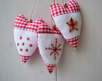 Garland of hearts fabric Christmas embroidered stars - Christmas ornament - Christmas Wreath - christmas garland - heart in embroidered fabric