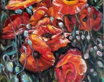 "Original Oil Painting, Red Poppy flower, 20""x16"", 1801092"