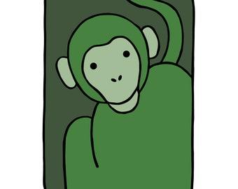 "Monkey - Animal Wall Art - Nursery Children's Kids Baby Boys Girls - Bedroom Decor - Original Drawing - Printable Digital Download 8""x10"""