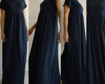 Navy blue t shirt maxi dress/long viscose knit dress/long women plus size dress/Dark blue summer maxi dress/oversize shirt full length dress