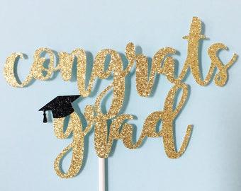 Congrats Grad Cake Topper | Congratulations Cake Topper | Party Decoration | Event Decor | Graduation Cake | Grad Glitter Cake Decorations