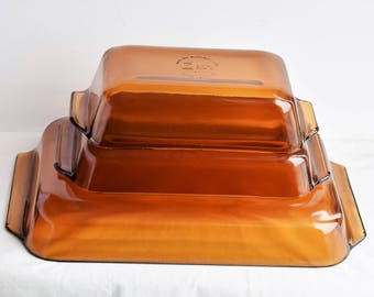 Set of 3 Matching Amber  Anchor Hocking  Baking Pans/Glass Bakeware