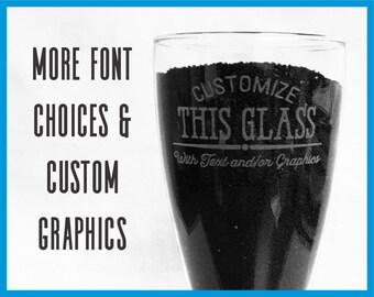 Custom Pilsner Glass, Laser Engraved Beer Glass, Personalized Glass, 23oz Beer Glass