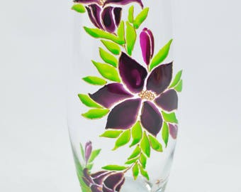 Oval painting on glass, flowers, painting flowers vase
