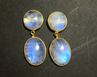 Rainbow Moonstone Earrings | 54503 | Moonstone | Silver Earrings | Gold Plated Gemstone Ring | June Birthstone | Moonstone Engagement Ring