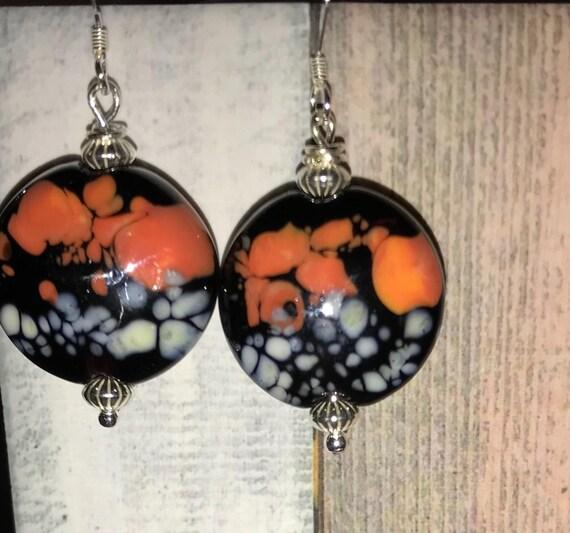 Lampwork Glass Bead  Pierced Dangle  Earrings Oranges, Lavender and Blacks