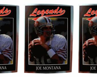 3 - 1991 Legends #7 Joe Montana Football Card Lot San Francisco 49'ers