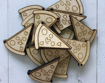Pizza, Minis with hole for keychain or ornament, laser cut, laser engraved