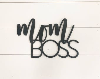mom boss, wood words, laser cut