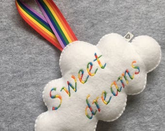 Rainbow felt cloud Personalized baby nursery wall door window decoration name embroidered gift