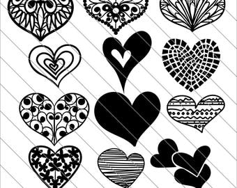 Hearts Silhouettes SVG, valentine bundle, hearts svg, valentines svg Cut File,DXF,PNG Use with Silhoutte Studio & Cricut Instant Download