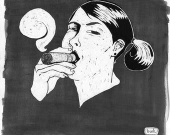 Portrait of Julie Dominican cigar smoker
