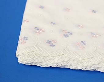 Floral Embroidered Cotton Swiss, Scalloped-Edge with pink & blue flowers perfect for heirloom sewing, diy projects