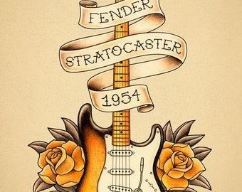 Fender Stratocaster guitar. Old School Tattoo print.