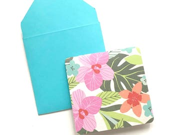 Hawaiian stationery, hawaii mini cards, blank stationary cards, gift tags with envelope, hibiscus gift tags, stationery set, 3x3 cards
