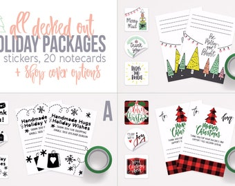 Christmas Packaging Stickers - Holiday Packaging - Christmas Stickers - Christmas Packages - Holiday Branding - Christmas Stationery Set