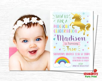 Unicorn Birthday Invitation. Magical Unicorn Birthday Invitation. Rainbow Birthday Invitation with photo. Unicorn Party. A34