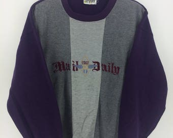 Vintage 90's Mail Daily PurpleClassic Design Sweat Shirt Sweater Varsity Jacket Size L #A801