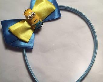 Satin minion / despicable me hair bow / headband / clip