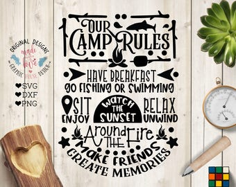 Camp Rules svg, Our Camp Rules Cut File in SVG, DXF, PNG, Camp Rules Printable, Camping Rules svg, Camping svg, Campers svg, Camp svg files