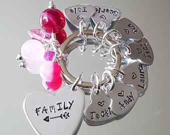 Hand stamped FAMILY Keyring, wording and colours can be changed, lovely present / gift