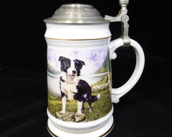 Davenport Pottery Porcelain Stein / Tankard with Pewter Hinged Lid – Border Collie – The Hero - Derek Ward – Limited Edition - England