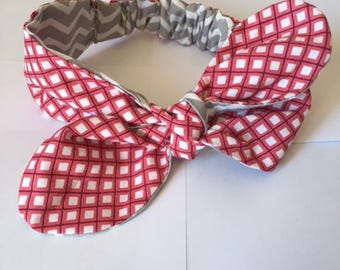 This headband to tie Burgundy and gray