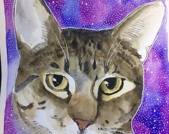 Cat Pet Portrait- Original Watercolor Cat Drawing- custom Kitty illustration- Cat Lover Gift