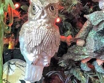 Blown glass owl ornament, Halloween tree decoration, Glittery owl ornament, Blown glass ornament, Owl ornament, Tree decoration ornament
