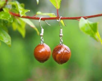 Wood earrings, handmade earrings, handmade wood earrings, beaded earrings, simple earrings, casual earrings, wooden earrings, drop earrings