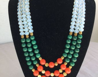 Agate, Jade and crystal Necklace
