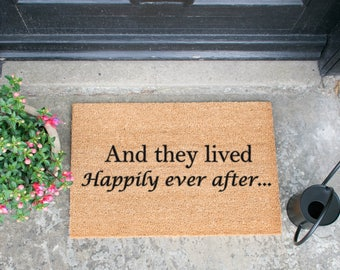 Fairy tale doormat - 60x40cm - And they lived Happily ever after - Moving out present