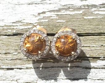 14k gold, orange zircon, and diamond halo earrings