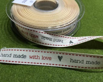 "Gift/Label-Band ""Hand made With Love""-15 mm wide-per meter or roll"