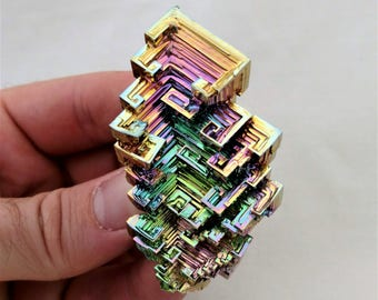 Rainbow Bismuth Crystal 79g Lab Grown Jewelry Display Specimen Educational Metaphysical Metal Healing Stone