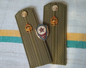 Set of 2 military symbols, Shoulder boards, Excellence in Soviet Army badge Soviet military badge History gifts for him Military collectible