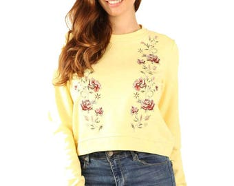 Womens Yellow Pullover Knit Sweater With Flower Embroidery