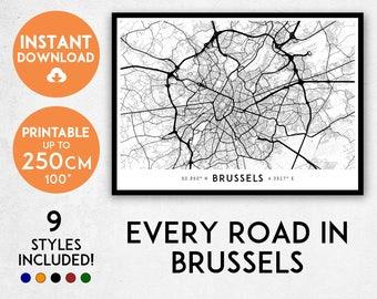 Brussels map print, Printable Brussels map art, Brussels print, Belgium map, Brussels art, Brussels poster, Brussels wall art, Brussels gift
