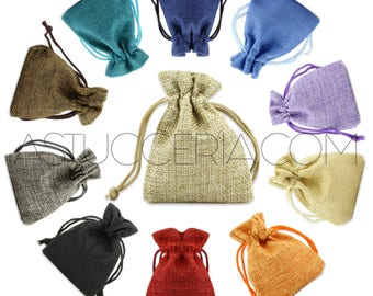 Jute gift bags linen-200 pieces for jewelry party favors costume jewelry Bijoux-Sachets For Packaging Envelope