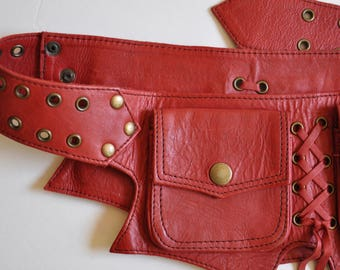 Handmade Red Leather Utility Belt/Travel Belt with Five Pockets