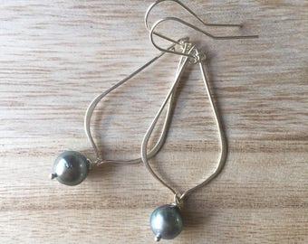 CLEARANCE! 9-10mm Tahitian Pearl Sterling Silver Teardrop Earrings