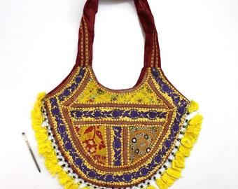 Handmade Ethnic Designer Tribal Banjara Patchwork Embroidered Hippy Fashionable Stylish Trendy Hippie Gypsy Boho Bohemian Shopper Bag F179