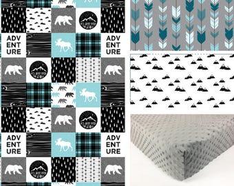 ADVENTURE CRIB SET, baby minky bedding, boy bedding set, black blue gray deer bear woodland crib set, plaid blanket, baby shower gift