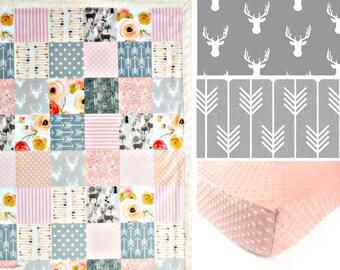 MINKY CRIB SET, baby minky bedding, girl bedding set, pink coral gray deer floral woodland crib set, flower blanket, baby shower gift
