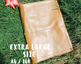 EXTRA LARGE TRAVELER'S notebook • A4 • 16K • B5 • Genuine beige Leather •  fauxdori • sketchbook • midori • journal • leather diary