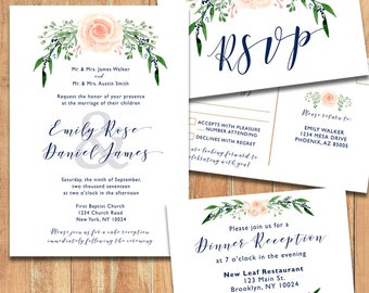 Printable Wedding Invitation Set Blush, Blush Wedding Invitation, Blush Invitation, RSVP Card, Details Card, DIY Wedding Invitations