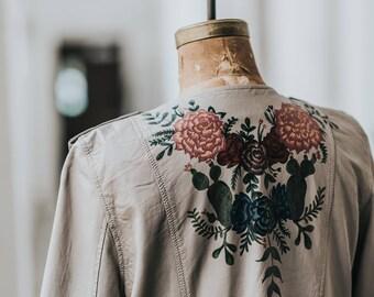 Hand-Painted Sheepskin Jacket / Succulents & Desert Flowers