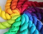 Brilliant Rainbow Mini Skein Set - BFL 4 Ply
