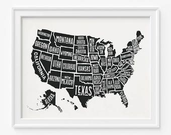 Us Map Etsy - Black and white usa map